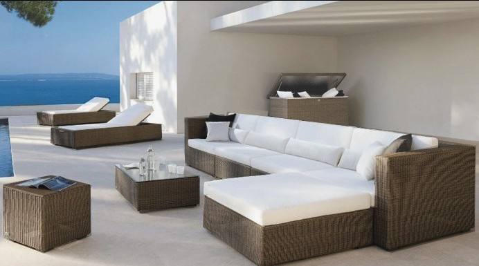 Outdoor Resin Wicker Poly Rattan Garden Furniture Sectional Lounge
