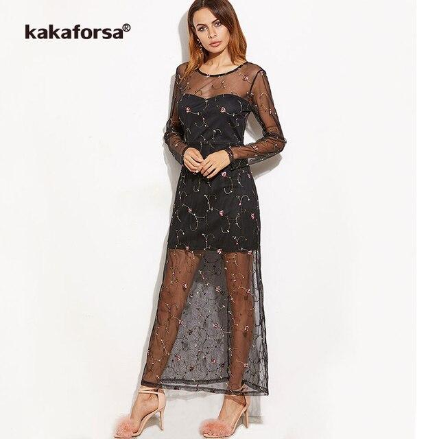 1b6320d024c4d0 Kakaforsa Summer Sexy Transparent Floral Dress Women Long Sleeve Black Mesh  Maxi Dresses Ladies Embroidery Party Dress