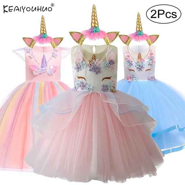 8b9bbf1f39531 2019 Pâques Filles Robe 2 pièces Enfants Robes Pour Les Filles de Fête de Licorne  Robe Enfant ...