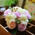 Mandy 2016 Wedding Accessories Silk cloth Handmade Multicolor Simulation Roses Berries Wild Flowers Dyeing  Wedding Bouquet
