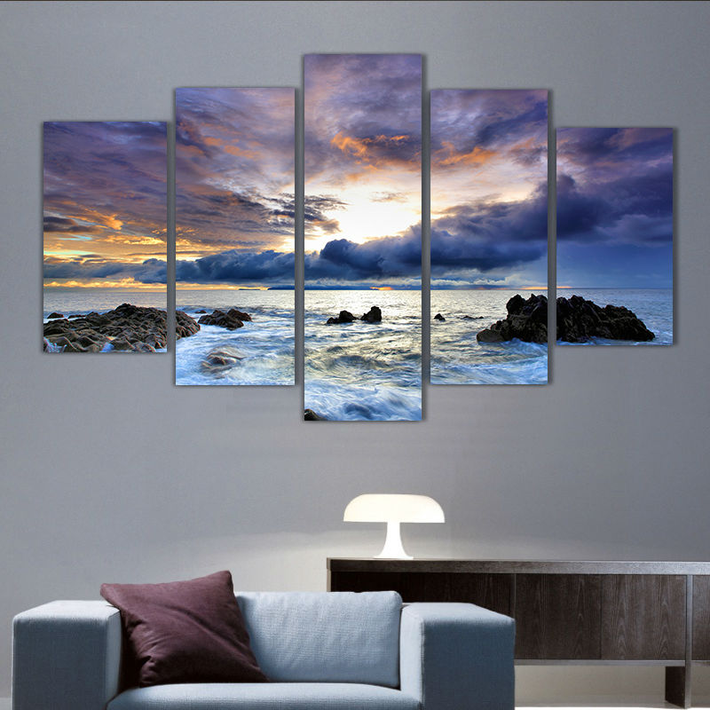 Modern Living Room Wall Art 5 panel printed canvas painting reef ocean seascape canvas print