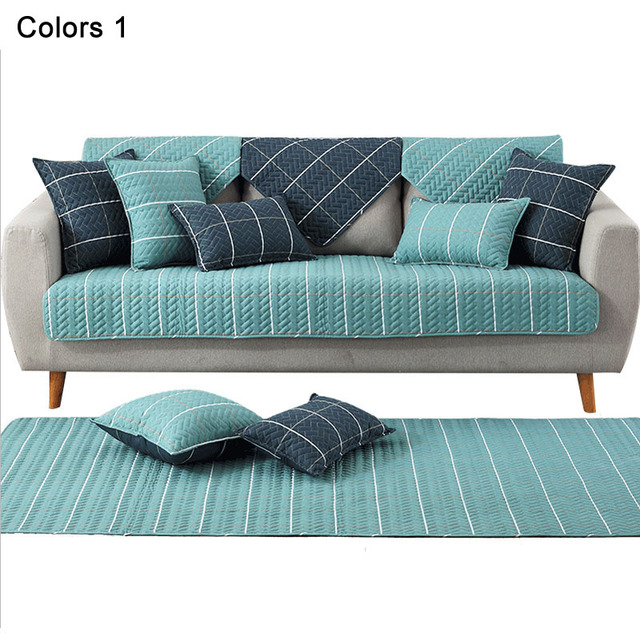 Soft Non Slip Sofa Pad Fabric Sofa Mats Green Blue Sofa Cover Resistant Sofa  Slipcover