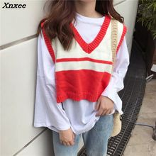 цена на Women Autumn V Neck Knitted Sweater Female Sleeveless High and Low Vest Sweater 2018 Womens Contrast Color Tops Sweater Xnxee