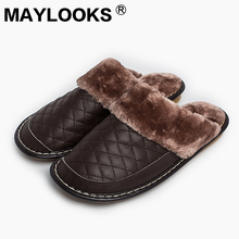 Men's Slippers Winter genuine Leather Thick With Plush Home Indoor Non-slip Thermal Slippers 2018 New Hot Sale Maylooks M-8828