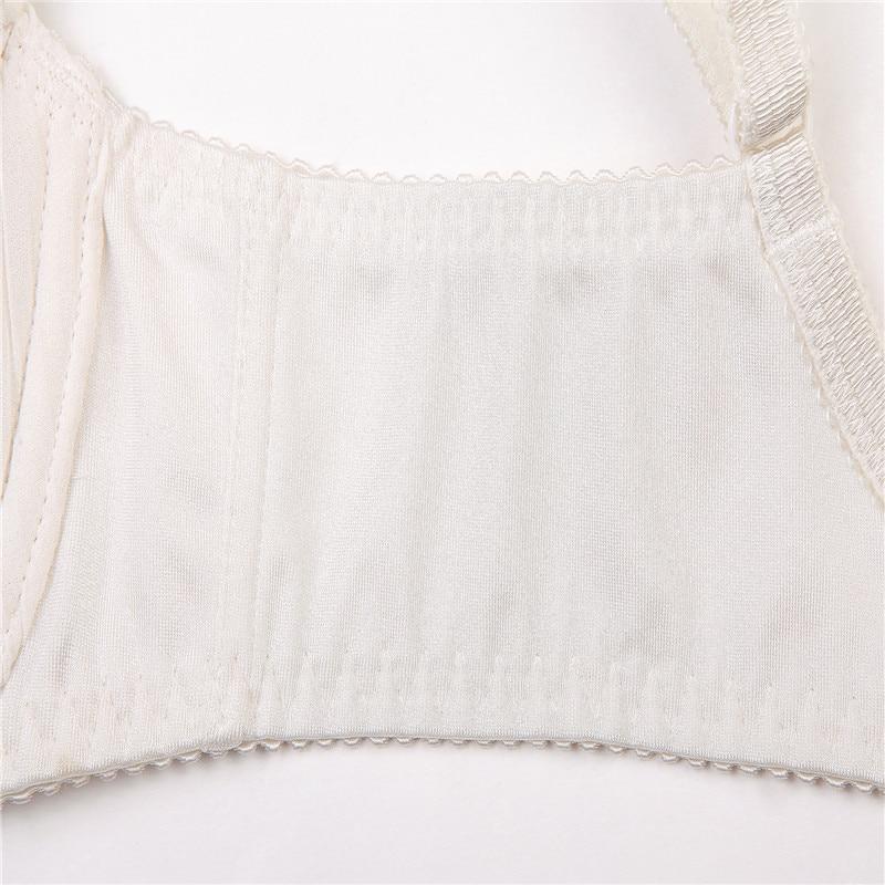 e0113e62c2 Women New Elegent Brand Quality Cream Lace Ruffles Patchwork Bra Plus Size  Bras C D DD E F Large Cup