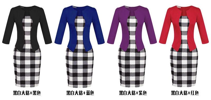 Dresses women 2019 Women fall models European plaid dress fake two packs  hip pencil free belt clothing vestidos HJY708