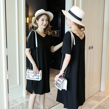 1840# Summer V Neck Backless Cotton Maternity Nursing Long Tees T-shirts Clothes for Pregnant Women Pregnancy T Shirt Tops Dress