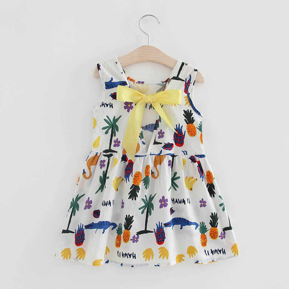 Летнее платье для маленьких девочек; вечерние платья принцессы на свадьбу; милая одежда без рукавов с цветочным рисунком и бантом для малышей; vestido verano 5