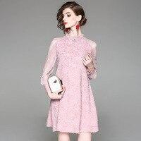7fd1aa6f3298d0 LYFZOUS High Quality Jacquard Design Dress Women Summer See-through Long Sleeve  Dresses Fashion Bee