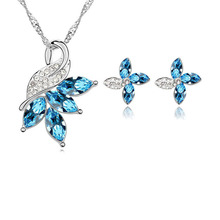 Fashion Jewellery Luxury Women Wedding Jewelry Sets Austrian Crystal Rhinestone Pendants Necklace Stud Earring
