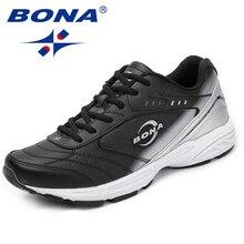 بونا جديد كلاسيكي نمط الرجال حذاء كاجوال الدانتيل يصل حذاء رجالي انقسام الجلود الرجال الشقق في الهواء الطلق موضة أحذية رياضية سريع شحن مجاني