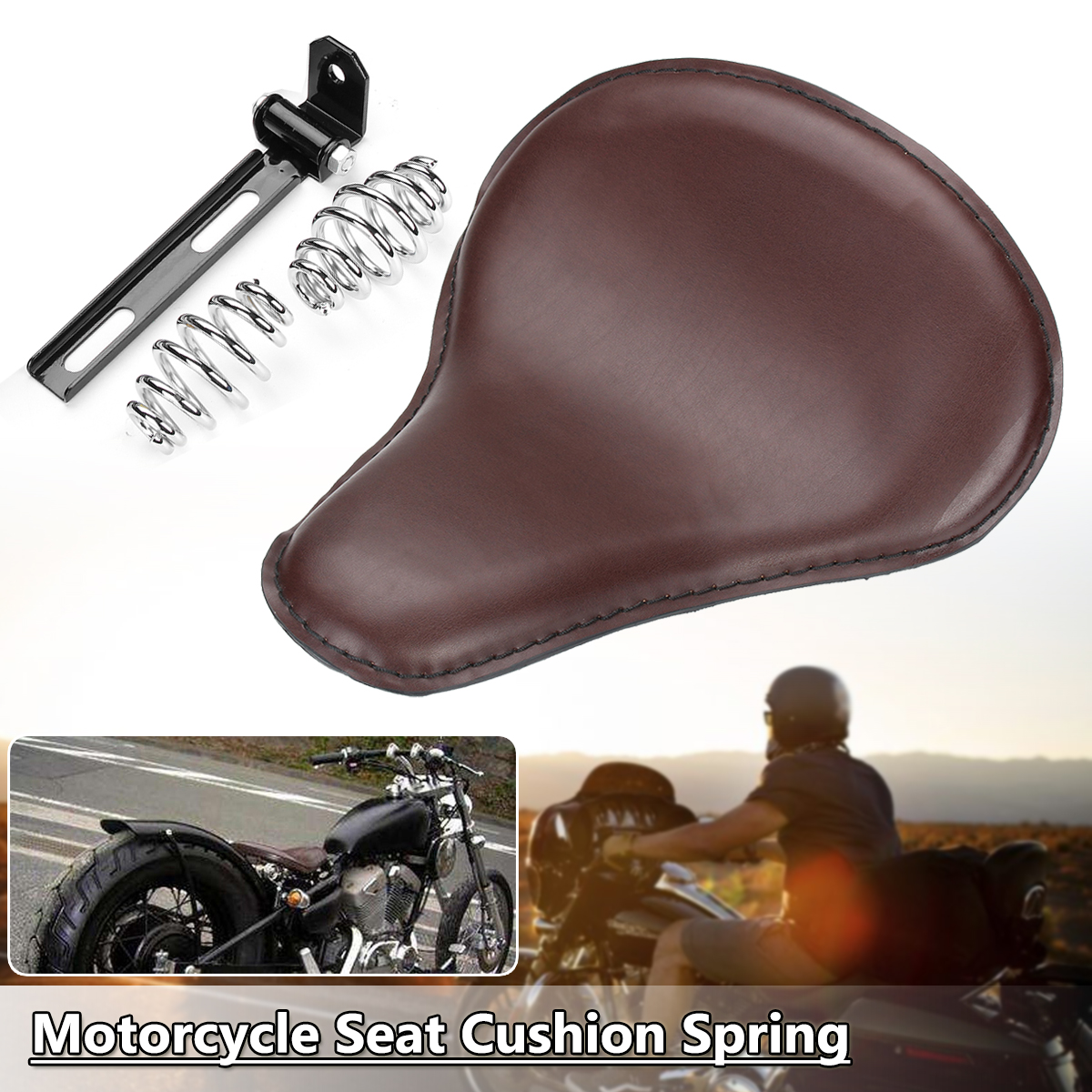 Universal Motorcycle Saddle Solo Seat Cushion Spring Flat Leather Style for Harley/Honda/Yamaha/Kawasaki universal motorcycle crocodile leather style saddle solo seat cushion spring for harley honda yamaha kawasaki