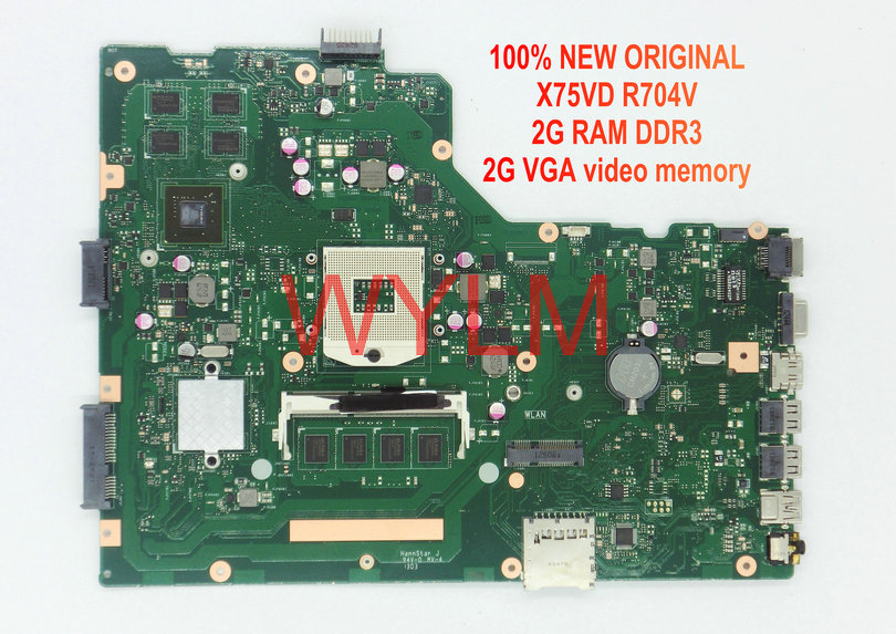 free shipping NEW original X75VD R704V motherboard mainboard MAIN BOARD 2G RAM DDR3 2G VGA video memory 100% Tested Working free shipping new original g55vw motherboard main board mainboard gt660m video card n13p ge a2 100% tested