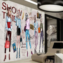 Custom wallpaper mural HD hand-painted cosmetics clothing store tooling wall