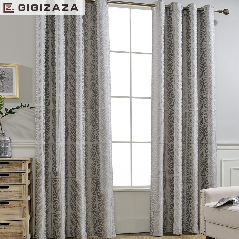 GIGIZAZA Silver Grey Luxury Jacquard Black Out Curtains For Living Room  Custom Size Curtains Pleat For