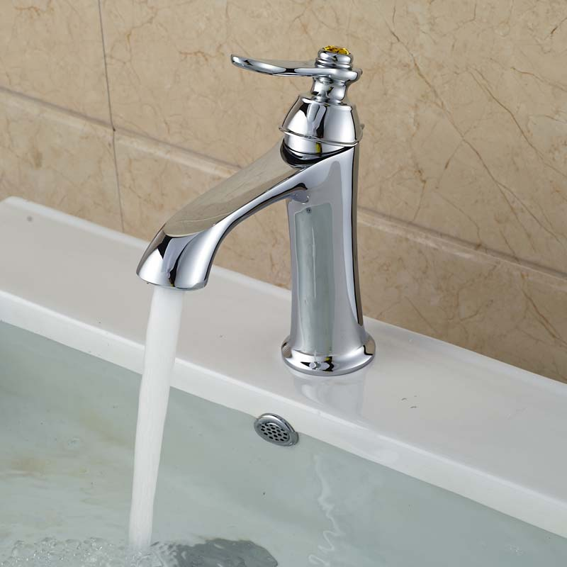 Free Shipping Deck Mount Single Handle Basin Vanity Sink Faucet Brass One Hole Mixer Tap with