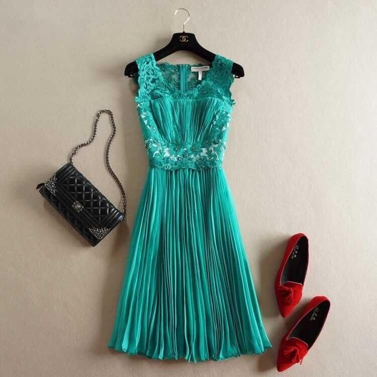 Весна Лето дизайнерские женские платья красные темно синие с вышитыми бисером цветами плиссированные модные брендовые до колен платья для мероприятий - Цвет: Зеленый