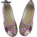 Nova 2017 Mulheres Flats Casual Shoes Ladies Flor Bordada De Linho De Cânhamo Nacional Sapatos Mãe Moda Sapatos Rasos Feminino SNE-670