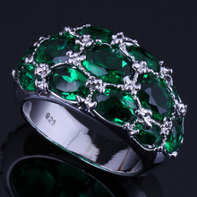 Delicate Oval Green Cubic Zirconia 925 Sterling Silver Ring For Women V0589