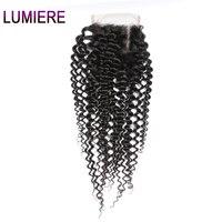 Lumiere волос Индийский афро кудрявый вьющиеся волосы Синтетическое закрытие шнурка волос 130% плотность Реми Человеческие волосы Накладные во...