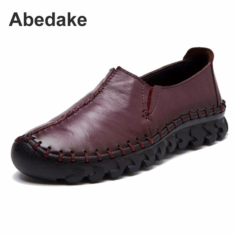 Abedake brand women flats genuine leather handmade women causal shoes spring flats fashion women shoes