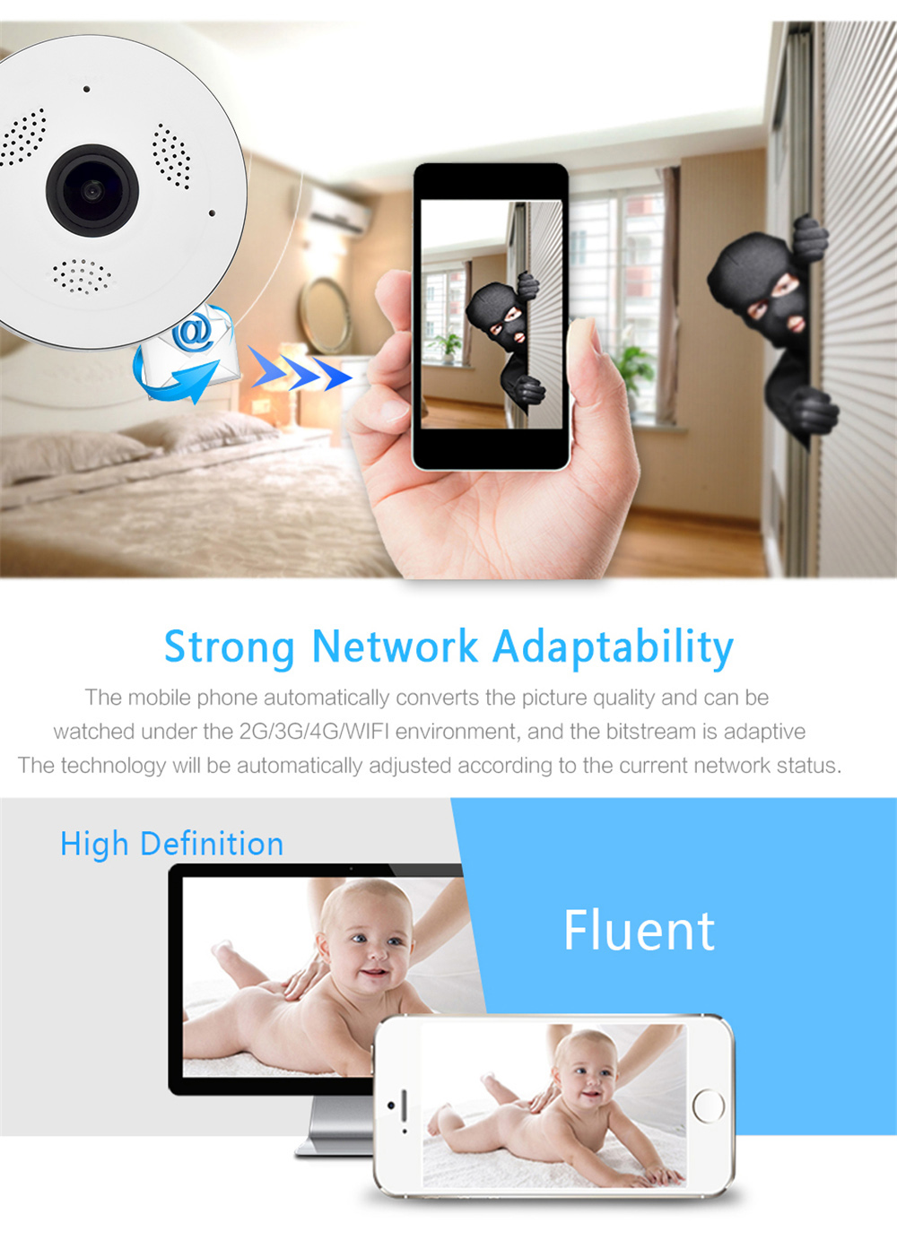 Wistino CCTV HD 960P WIFI IP Camera Alarm Wireless VR Panoramic Camera Fisheye 360 Degree Video Baby Monitor Home Surveillance (5)