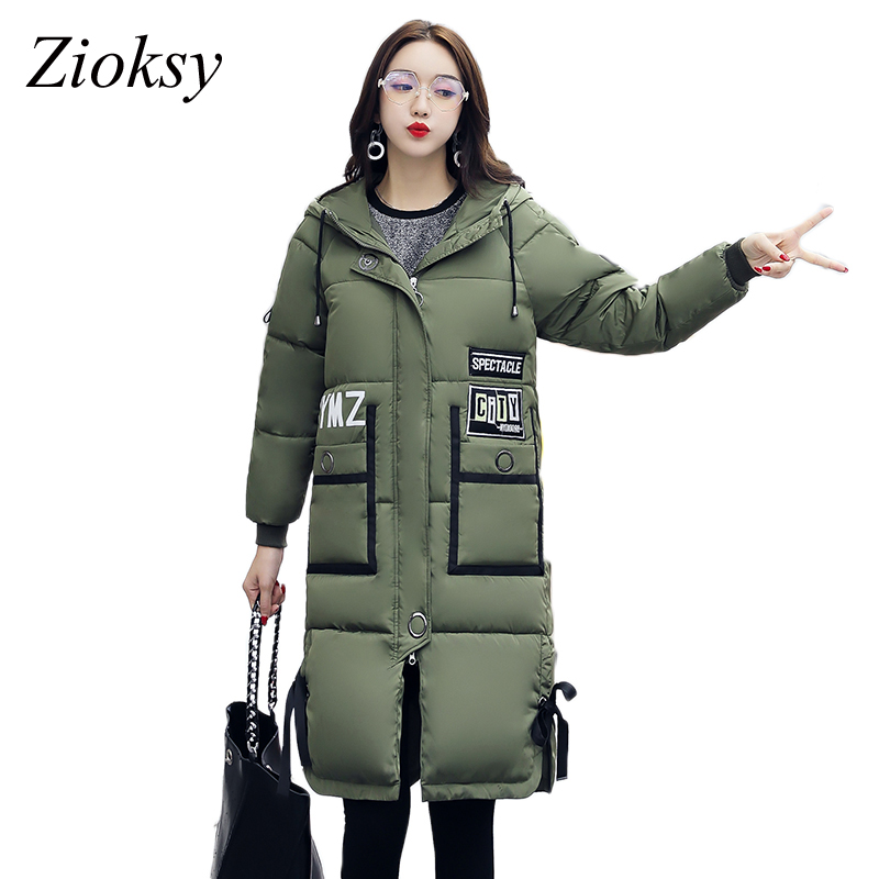 New 2017 Fashion Long Winter Jacket Women Cotton-Padded Parkas Jacket Slim Hooded Ladies Thick Warm Down Jacket Coat Plus Size
