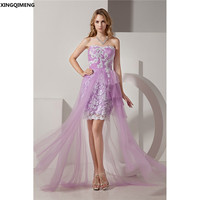 Elegant Violet Tulle Cocktail Dress Sexy Strapless Cocktail Dresses Formal Dress High Low Prom Gown robe soiree Evening Gown