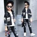New Good Quality Children's Clothing Kids Girls Black Denim Coat Long Sleeve Letter Print Cowboy Coat Children Outwear Jackets
