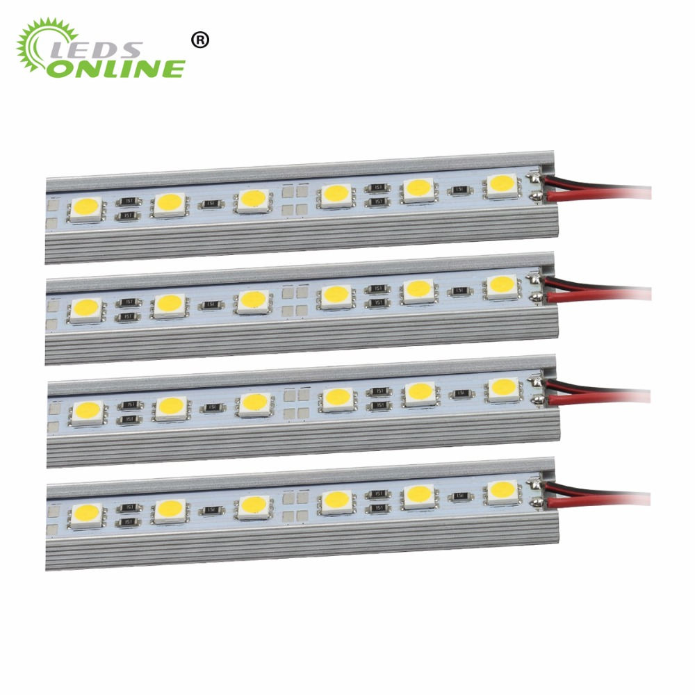 Wholesale 50cm 5050 DC12V hard rigid bar strip with U aluminum profile shell  end cap 2pin wires cabinet kitchen light by DHL