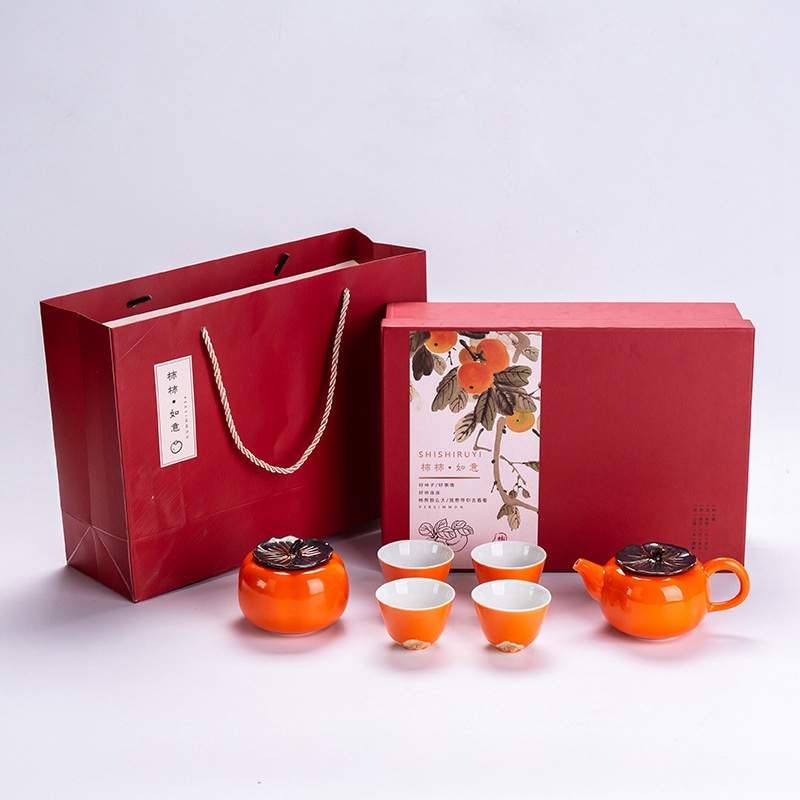 Teaware Creative Persimmon Tea Set Beauty Ceramic Chinese Kungfu Tea Ceremony Chinese Drinking Utensils Cute Teapot High-end Gift Kitchen,dining & Bar
