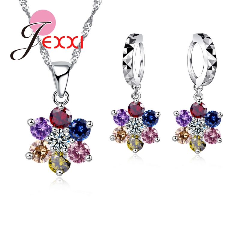 925Silver Store Exquisite Multi Color Cubic Zirconia Flower Pendant Necklace Crystal Drop Piercing Earrings 925 Sterling Sivler Jewelry Sets