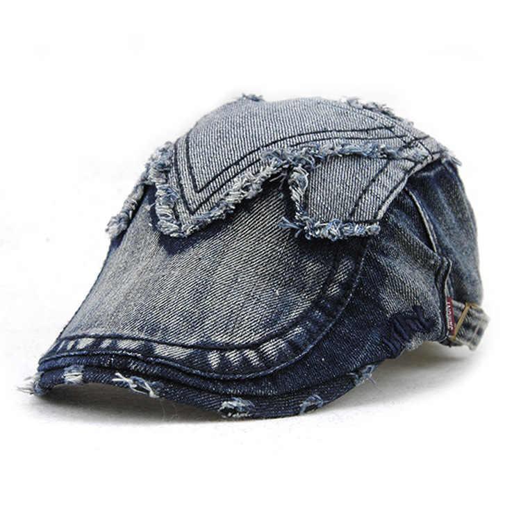 [JAMONT] 2019 демисезонная Кепка s джинсовая Лоскутная плоская береты Повседневная французская шляпа женская шляпа в стиле ретро Chapeau Soleil Homme gorros Mujer