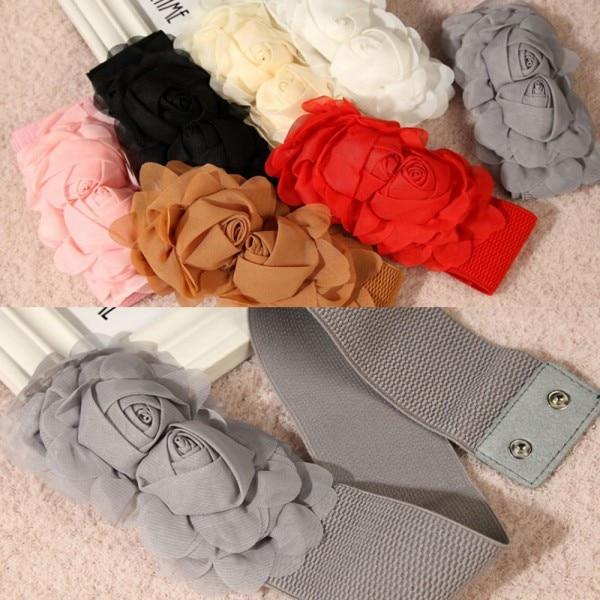 Womens Celebrity Style Rose Flower Elastic Dress Waist Band Stretchy   Belt