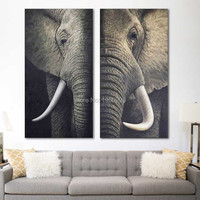 real elephant hand painted oil painting on canvas India long antennae couple elephant handmade wall art for living room decor