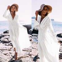 Sommer Frauen Sexy V-ausschnitt Bademode Cover up Bikini Lange Strand Kleid