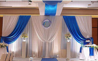 3m high x6m long white and royal blue wedding stage party backdrop decoration drapes with ice silk