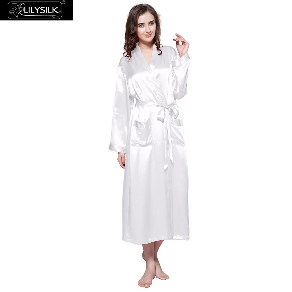LilySilk Robe Sleepwear Kimono Female Pure 100 Silk 22 momme Natural  Classic Long Luxury Women s Clothing Free Shipping df62fef8f