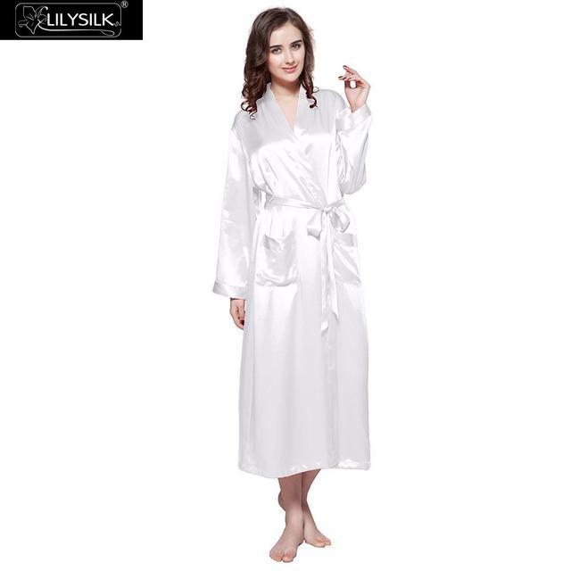 37c2af1440 LilySilk Robe Sleepwear Kimono Female Pure 100 Silk 22 momme Natural  Classic Long Luxury Women s Clothing