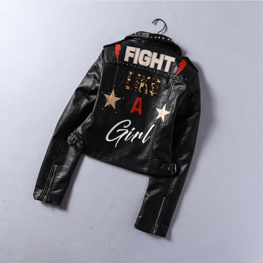 2019 Spring New fashion brand Thailand style rivet beading graffiti embroidery cartton locomotive Pu   leather   short jacket wq846