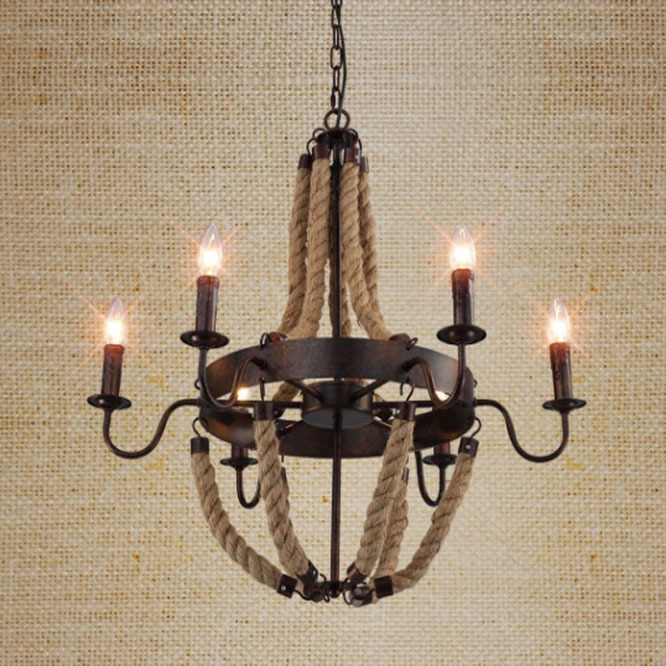 Loft Style American Industrial Black Color Hemp Rope Pendant Light Living Room Lamp Cafe/Bar Lamp  Free Shipping