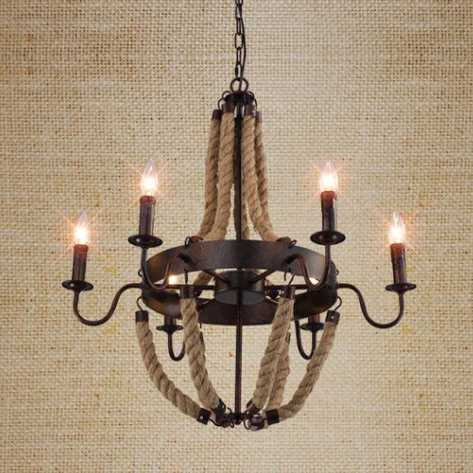 Loft Stil American Industrial Schwarz Farbe Hanfseil Pendelleuchte Wohnzimmer Lampe Caf Bar Free Verschiffen
