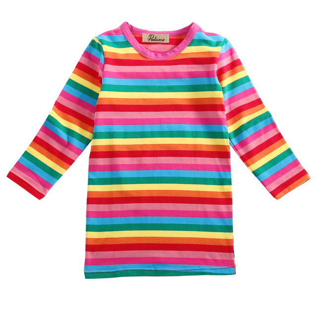 Kids Girls Baby Rainbow Striped T Shirt Long Sleeve Cotton Colorful Casual Eay Dry Clothes