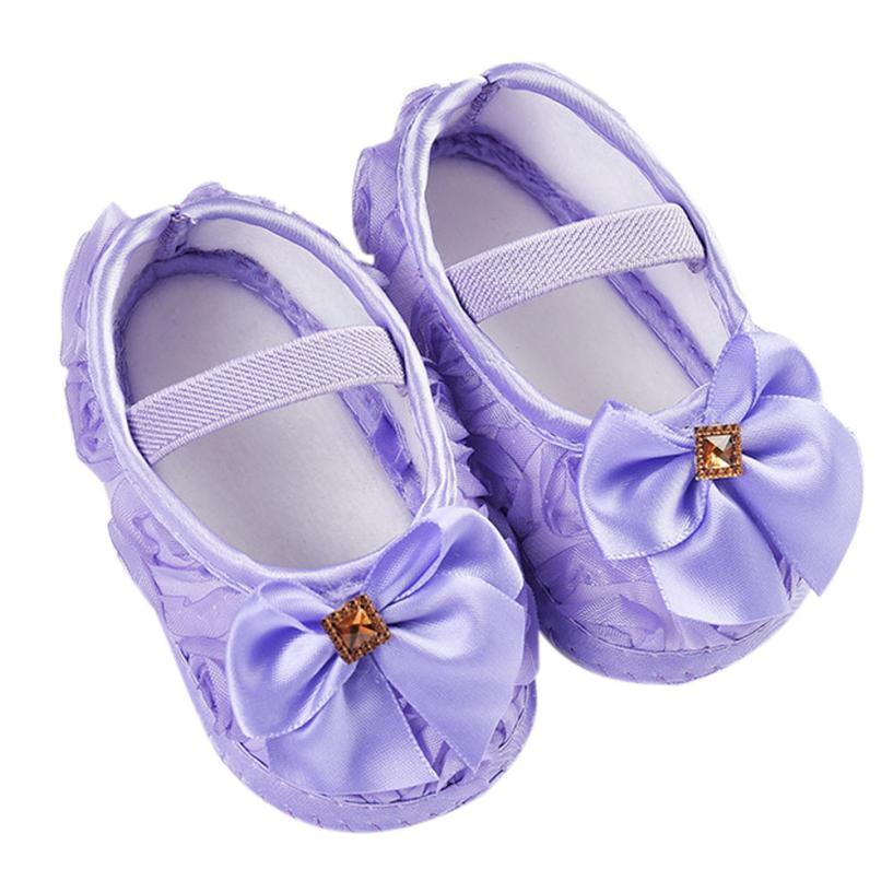 Hot Toddler Kid Baby Girl Rose Bowknot Elastic Band Newborn Walking Shoes Jan13