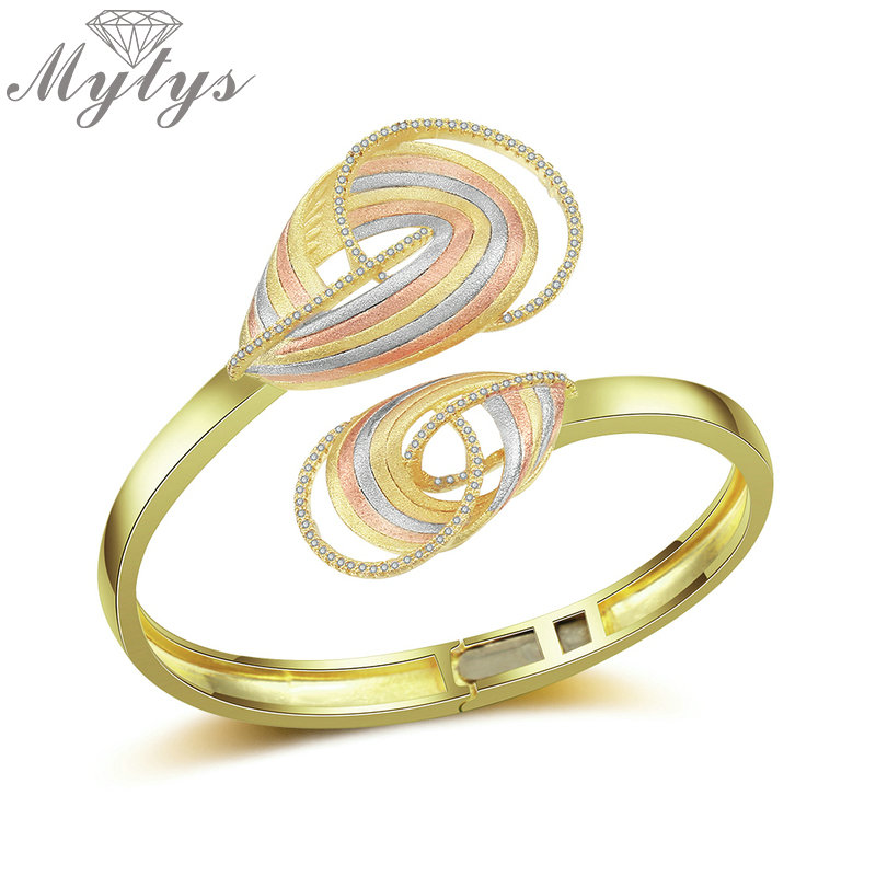 Mytys Luxury Jewelry Three-tone Gold Cuff Bracelets Bangles Female Open Bangles Cubic Zircon Charms Bracelets Brass Jewel B1124