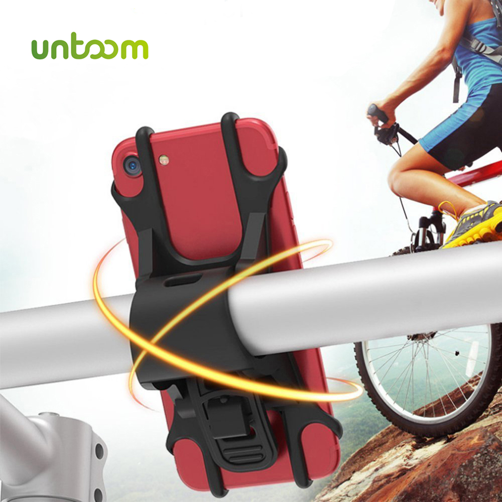Untoom Bike Phone Holder For IPhone X Xs Max 8 Samsung S8 S7 Silicone Bicycle Handlebar Stroller Mount For 4-6 Inch Mobile Phone