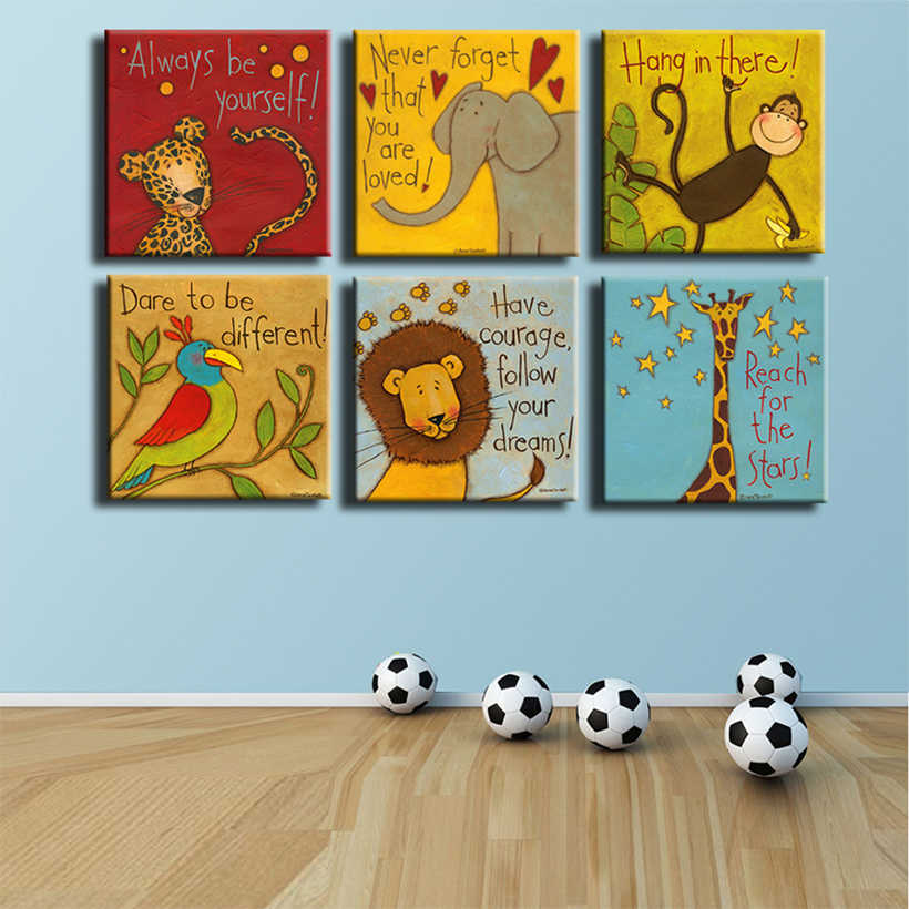 Canvas Prints Oil Painting 6 Pieces/set Modern Cartoon Animals Wall Pictures Kids Room Wall Decor No Frame Posters