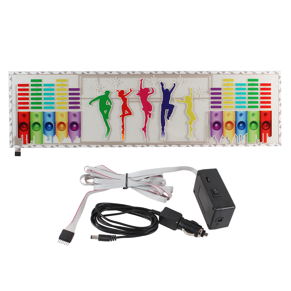12V Music Rhythm LED Flash Lamp Auto Stickers Dance Pattern Car Sticker Sound Activated LED Lights Stickers 12v colorful dashboard led flash light car music rhythm sticker 30cm 80cm auto sound activated lights stickers