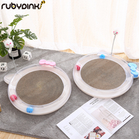 Round Shaped Corrugated Cat Kitten Scratch Board Pad Scratcher Bed Mat Claws Care Toy For Pet Cat Training Cat Toy by Rubydink