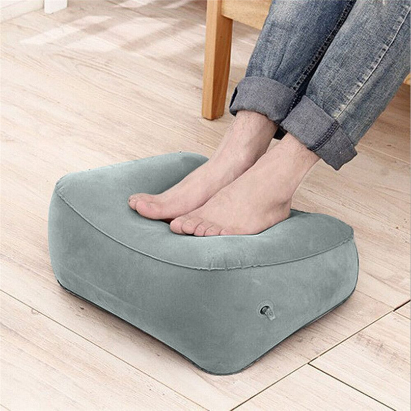 Outdoor travel airplane foot massage Foot Inflatable Pillow Travel Air Cushion Camping Beach Car Foot Rest Support #2O08FN